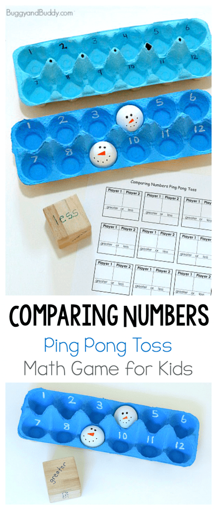 Comparing Numbers Math Game for Kids using ping pong balls and egg carton! Fun number and gross motor game for kids with a free printable recording sheet. Make it winter themed by drawing snowman faces on your ping pong balls! ~ BuggyandBuddy.com