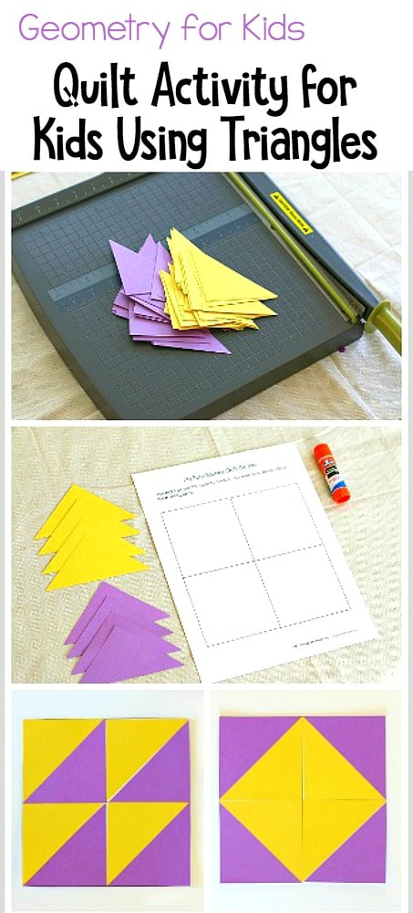 Math / Geometry for Kids: Free Printable Quilt Design Activity for Kids Using Paper Triangles