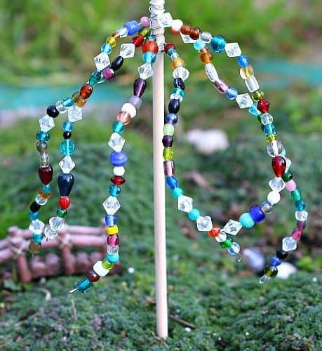 Beaded Garden Ornaments in the Fairy Garden (Inspired by Jean Van't Hul's The Artful Year)