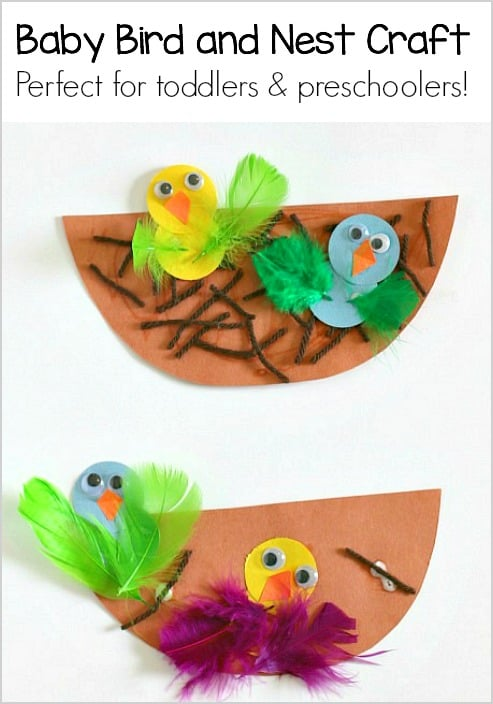 Spring Craft for Kids: Nest and Baby Bird Craft- These cute, paper chicks are perfect for toddlers and preschool!