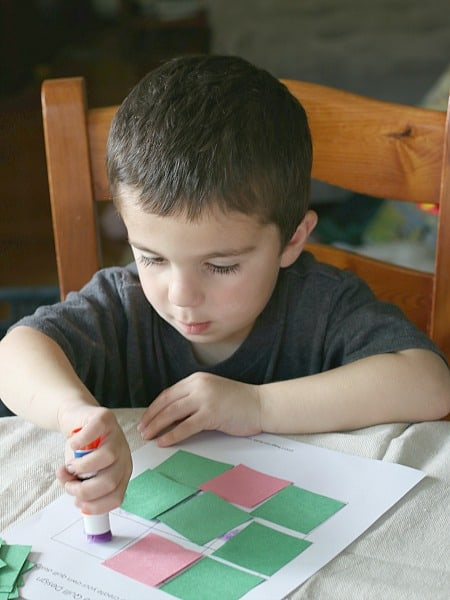 Geometry for Kids: Glue paper squares to make quilt designs and patterns