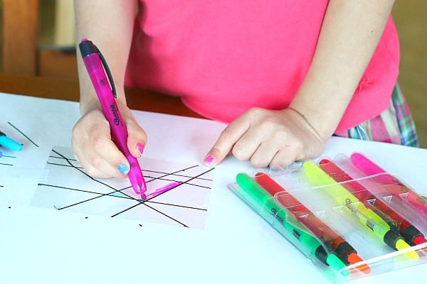 color in your suncatcher craft with highlighters