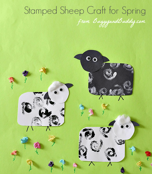 Stamped Sheep Craft for Kids~ BuggyandBuddy.com