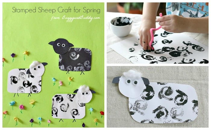 Sheep Craft for Kids using paint and tissue paper- perfect for Spring and Easter! ~ BuggyandBuddy.com