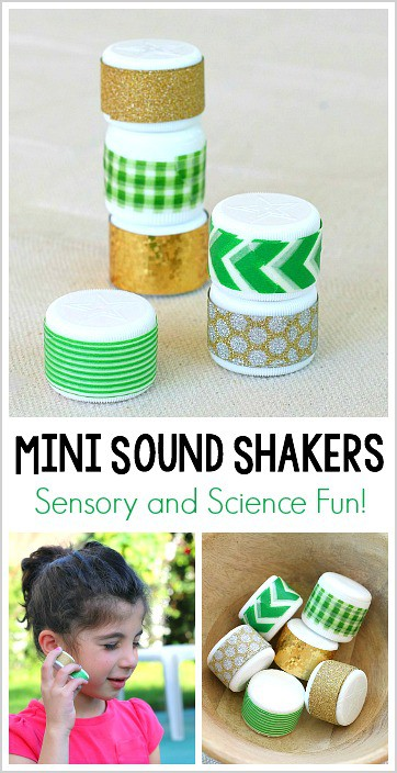 Science and Sensory Play for Kids: Mini Sound Shakers! These easy to make sound shakers are perfect for exploring sound, playing gross motor games and more!