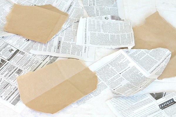 torn newspaper for art project for kids