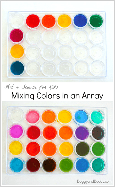 Art and Science for Kids: Mixing Colors in an Array~ BuggyandBuddy.com