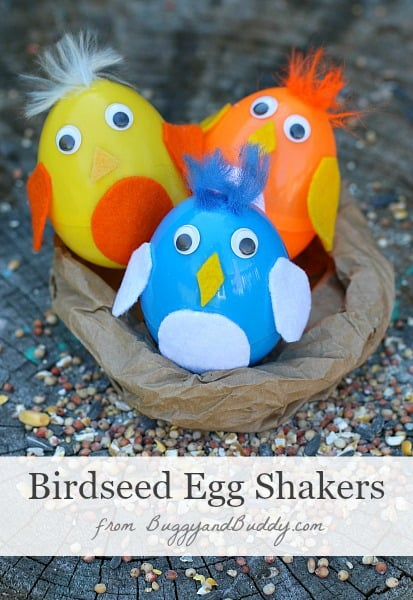 Easter Crafts For Kids Plastic Egg Shakers Filled With Birdseed Sprinkle The Outside