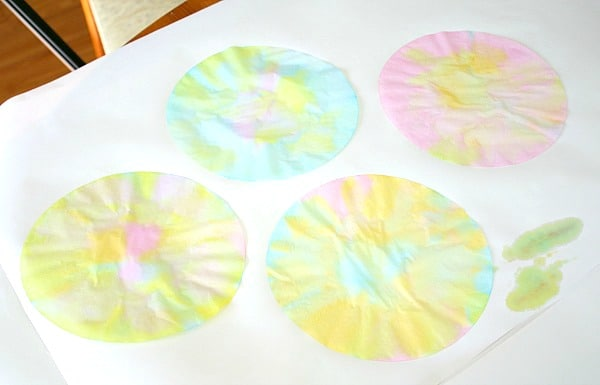 painting coffee filters with kids
