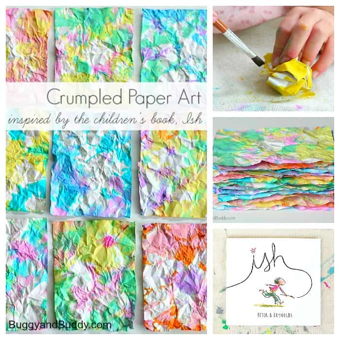 Crumpled Paper Process Art for Kids Inspired by the book, Ish!