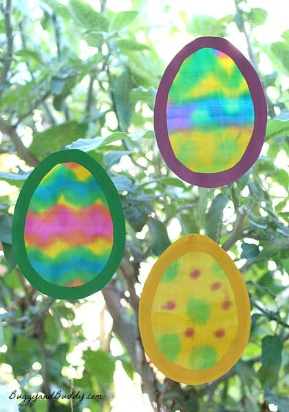 Easter Craft for Kids: Egg Suncatchers Made with Painted Fabric~ BuggyandBuddy.com