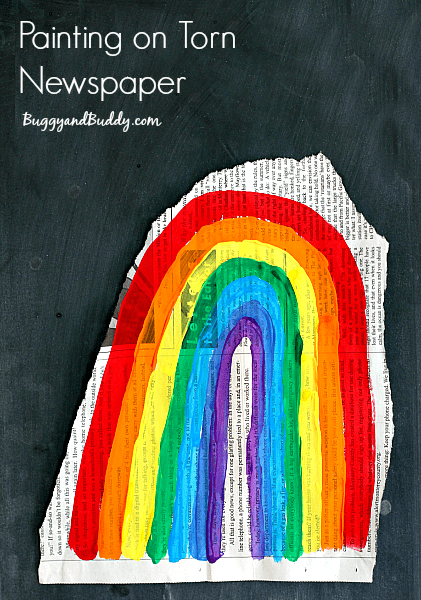Painting on Torn Newspaper: Art for kids inspired by the picture book, Beautiful Oops!~ BuggyandBuddy.com