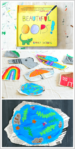 Torn newspaper shapes as inspiration for painting! (Art project for kids inspired by the story, Beautiful Oops)~ BuggyandBuddy.com