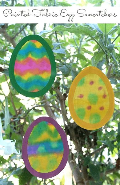 Easter Craft for Kids: Painted Fabric Egg Suncatcher (w/ Free egg shape template)