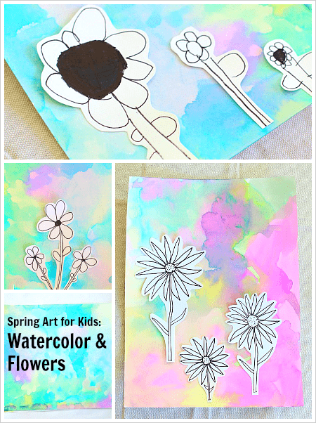 Spring art projects flowers on watercolor background buggy and buddy flower drawings on watercolor backgrounds spring art project for kids buggyandbuddy mightylinksfo Choice Image