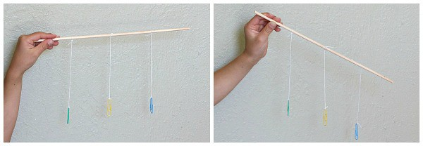 gravity experiment for preschoolers using string and paperclips