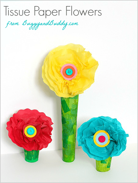 Stand Alone Tissue Paper Flower Craft for Kids using a cardboard tube or paper towel roll- perfect for spring and Mother's Day! ~ BuggyandBuddy.com