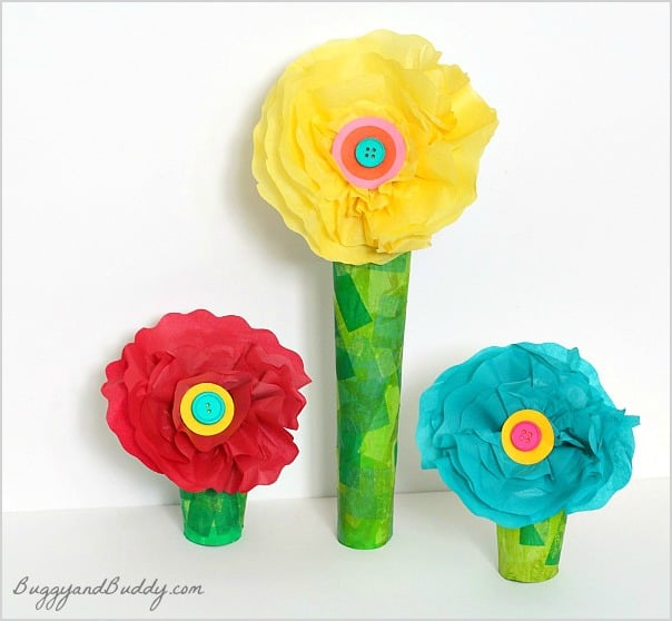 Tissue paper and cardboard tube flower craft buggy and buddy tissue paper flower craft for kids w a paper towel roll stem mightylinksfo Gallery