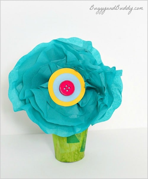 Tissue Paper Flower Craft for Kids