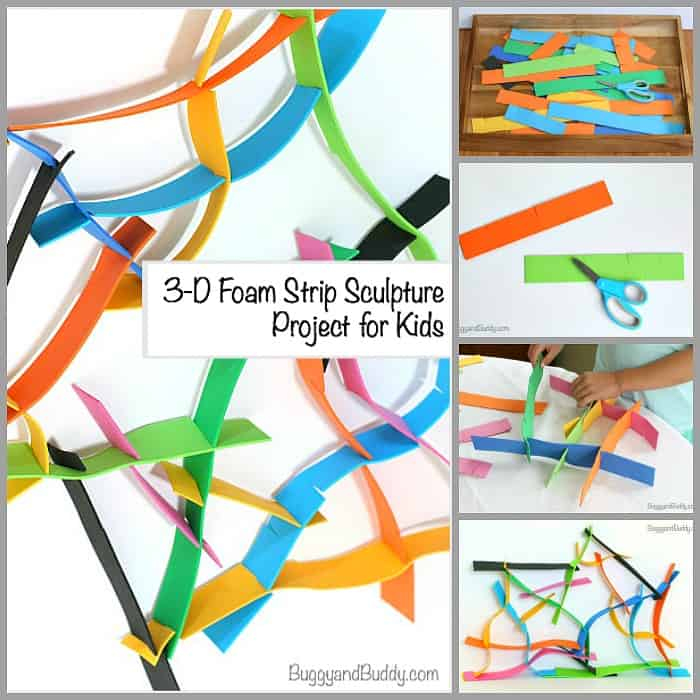 Building Activity for Kids: 3-D Foam Strip Sculptures