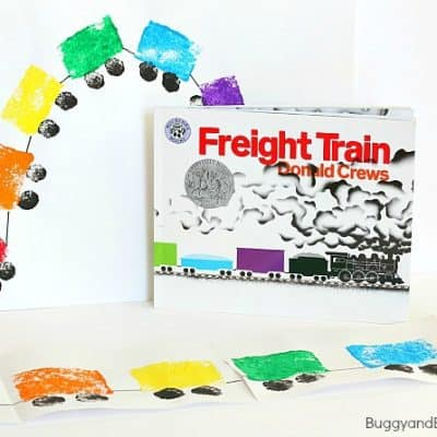 Sponge Painted Train Craft Inspired by Freight Train