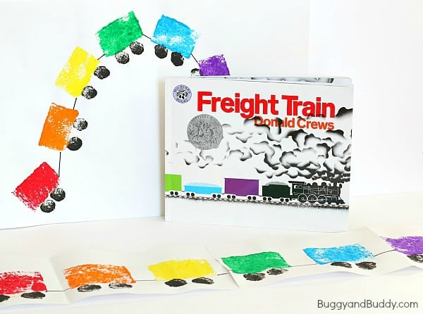 Preschool Art Project: Sponge Painted Train Craft for Kids based on Freight Train~ BuggyandBuddy.com