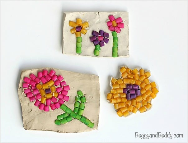 Dyed Pasta Mosaic Art Project for Kids~ BuggyandBuddy.com