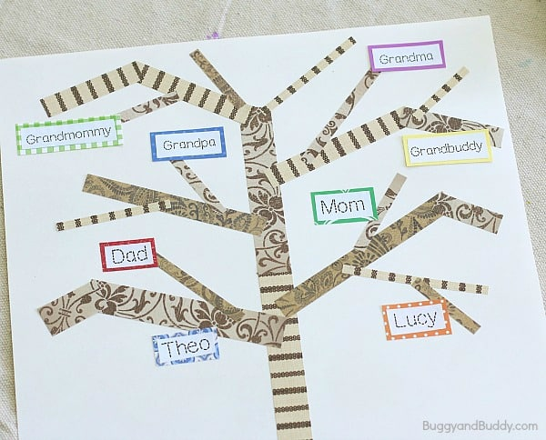 add names to your family tree craft for kids