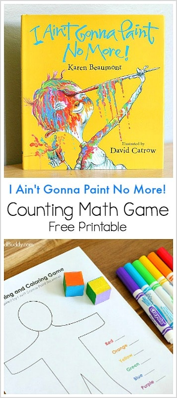 Color and Count Math Game inspired by the children's book I Ain't Gonna Paint No More! - Free printable activity for preschool and kindergarten! ~ BuggyandBuddy.com