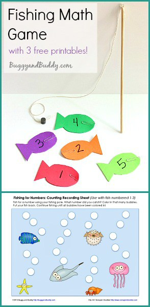 Easy DIY Fishing Math Game with 3 FREE Printables!- Can be used for number recognition, counting, addition, and subtraction! ~ BuggyandBuddy.com