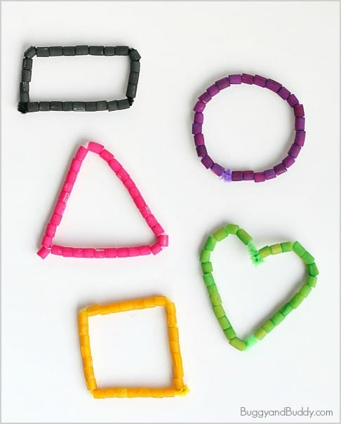 math for kids: learning about shapes with a shape necklace