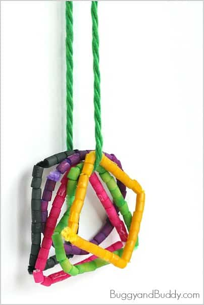 Math for Kids: Shape Necklace Craft Using Dyed Pasta~ BuggyandBuddy.com