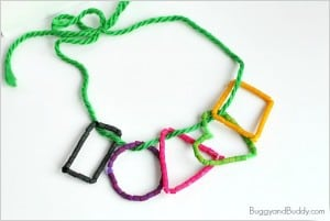Shape Necklace Craft for Kids Using Dyed Pasta
