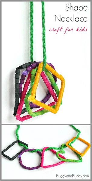 Math and Art for Kids: Create a shape necklace using colored pasta! You can even use it to go on a shape walk! ~ Buggy and Buddy