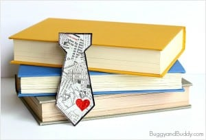 Father's Day Craft: Tie-Shaped Bookmark Using Tear Art