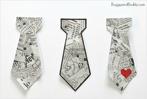 Father's Day Craft for Kids: Tear Art Tie-Shaped Bookmarks for Dad!