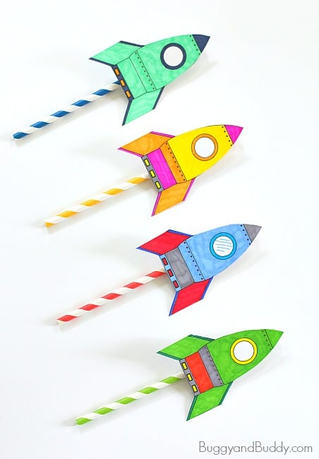 Straw Rockets Fun Science Activity For Kids W Free Rocket Template