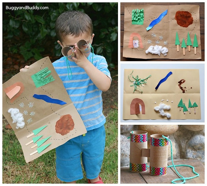 Retelling Activity for We're Going on a Bear Hunt- Make a map and binoculars and head outside on your very own adventure! ~ BuggyandBuddy.com