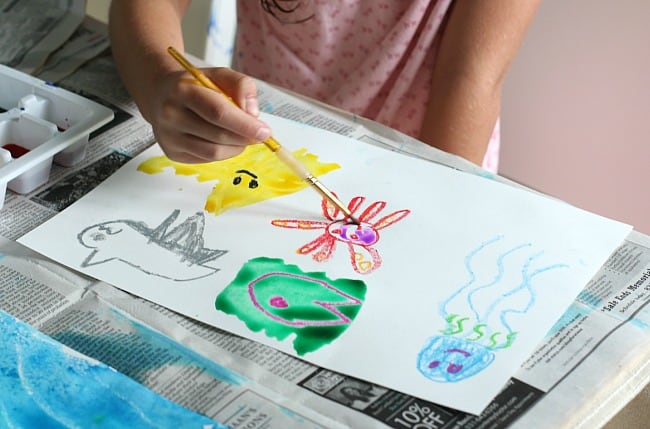 oil pastel and watercolor ocean art for kids