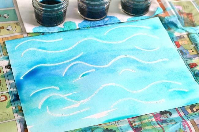 ocean art for kids using liquid watercolor