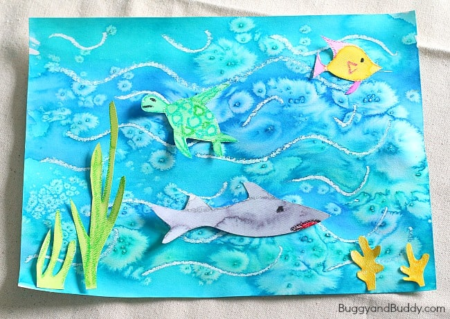 Cool ocean art project for kids using salt and watercolor for Oil painting for kids