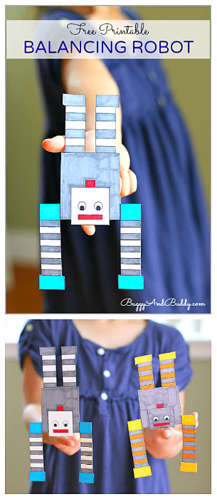 Science for Kids: Balancing Robot Free Printable- Fun STEM activity for exploring balance and center of gravity!