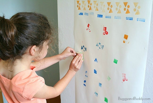 Art for Kids: Mural Using Homemade Stamps