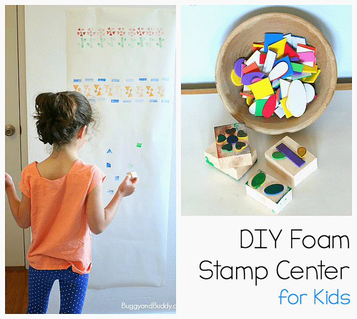 make your own stamps using foam stickers- fun craft for kids