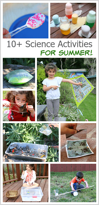 10 Summer Science Activities for Kids: Learn how to make a newspaper kite, how to make ice cream in a bag, explore chemical reactions, make bubbles, and more! ~ BuggyandBuddy.com