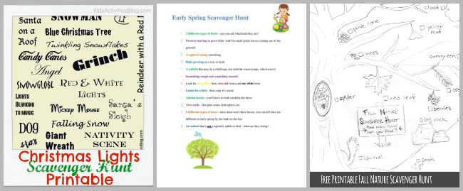 free printable holiday scavenger hunts
