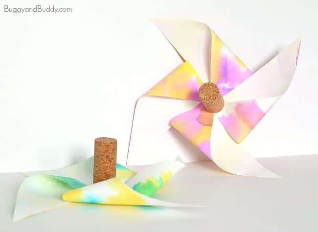 STEM activity for kids: how to make a paper helicopter pinwheel