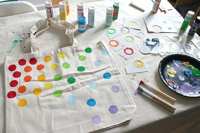 DIY Tote Bag with Stencils