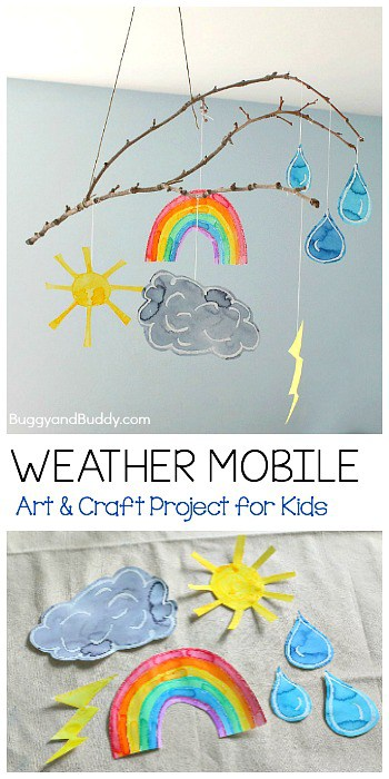 Stick Weather Mobile Craft for Kids- Fun art project for your next weather unit! ~ BuggyandBuddy.com
