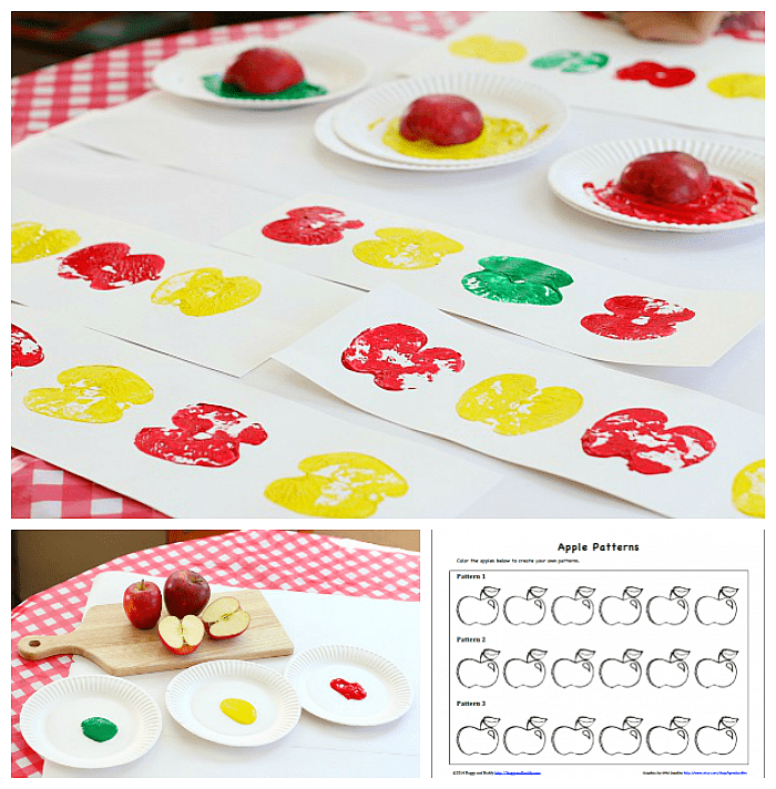 Fall Math for Kids: Make patterns with apple prints